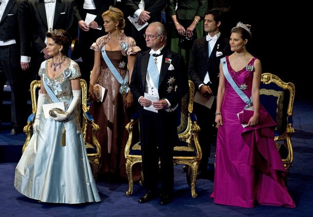 Members of the Swedish royal family attend the Nobel Prize ceremony in the concert hall in Stockholm