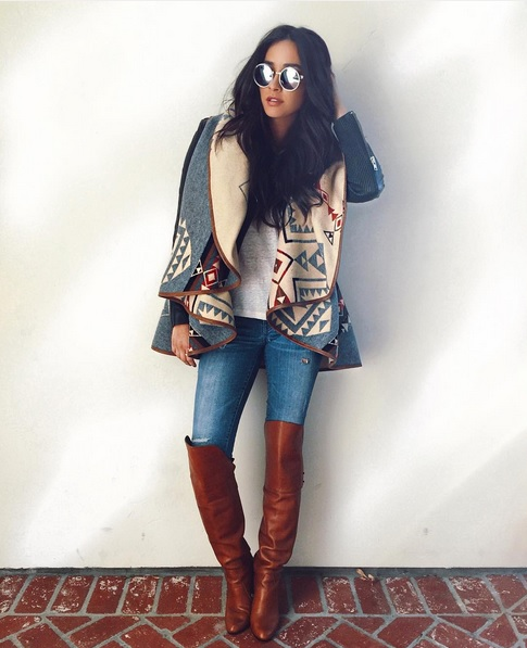 Shay Mitchell cool in Overknees & Poncho