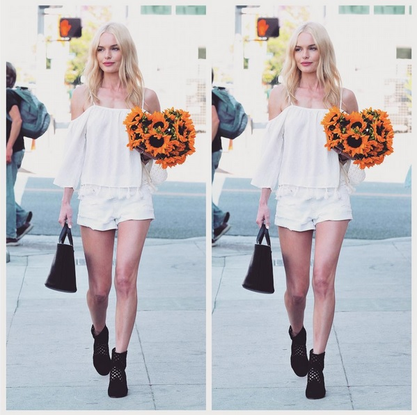 Kate Bosworth im Off-Shoulder Frühlings-Look